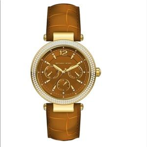 Michael Kors Stainless Steel & Leather Watch NWT